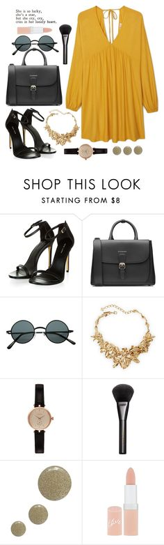"""mustard"" by bravenewuniverse ❤ liked on Polyvore featuring Burberry, Oscar de la Renta, Barbour, Gucci, Topshop, Rimmel, MANGO, women's clothing, women's fashion and women"