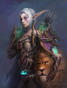 Night Elf Hunter - World of Warcraft game art....this is awesome .. my second 'main' is a nelf hunter :)