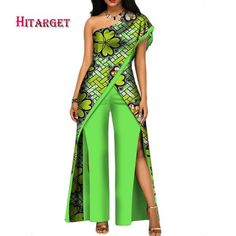 African Top-Pant Set For Women Sexy Off Shoulder Jumpsuit Dashiki Clothing Batik African Fashion Ankara, Latest African Fashion Dresses, African Print Fashion, African Prom Dresses, African Dress, African Traditional Dresses, Traditional Outfits, African Tops, African Style