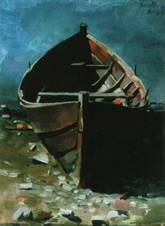 Akseli Gallen-Kallela, Beached Boat at Daybrea Chur, Nordic Art, Boat Painting, Edvard Munch, Great Artists, Oil On Canvas, Illustration, Dresden, Art Gallery
