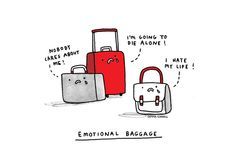 Emotional Baggage Art Print by Gemma Correll | Society6 #art  #design #awesome #print  #poster  #color  #cool  #gift  #gift #ideas  #hipster  #funny  #Illustration  #threadless  #drawing  #girls  #beautiful #humor