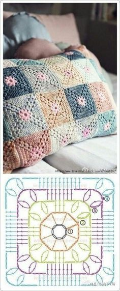 Very pretty Crochet Pillow. This is not in English, but the crochet diagram should be sufficient. Discover thousands of images about Crochet granny square baby blanket pillow cushion afghan throw blanket Crochet fabric is a very popular option for li Crochet Motifs, Crochet Blocks, Granny Square Crochet Pattern, Crochet Diagram, Crochet Squares, Crochet Chart, Free Crochet, Crochet Patterns, Afghan Patterns