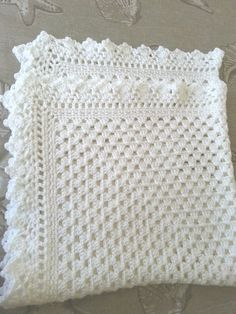 White crochet christening baptism baby blanket with fancy edge