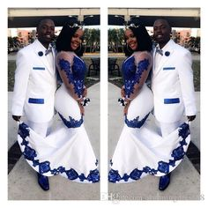 New White Satin Royal Blue Lace Aso Ebi African Prom Dresses Long Illusion Sleeves Applique Evening Formal Gowns Pageant Celebrity Dress Yellow Prom Dresses Ball Gown Prom Dresses From -