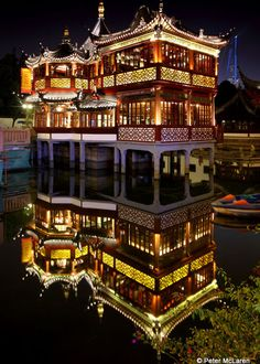 This Tea house is located in the central area of Yu Yuan area,surrounded by water. Shanghai, China