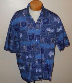 Jack Lipson Hawaiian Shirt Large Blue Nautical Fish Starfish Seashell Cotton #JackLipson #Hawaiian