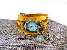 Montre vintage en cuir jaune et sequin liberty mauvey orange : Montre par crocmyys