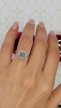 Cushion Halo on a Stunning Razor Thin Band! Engagement Rings Cushion, Princess Cut Engagement Rings, Beautiful Engagement Rings, Halo Diamond Engagement Ring, Diamond Wedding Rings, Wedding Ring Bands, Wedding And Engagement Rings, Diamond Nose Ring, Princess Cut Halo