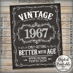 1967 Birthday Sign Better with Age Vintage Birthday Aged to