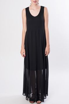 Ribbed black tank dress with sheer maxi over lay.    Maxi Tank Dress by Yest. Clothing - Dresses Orange County, California
