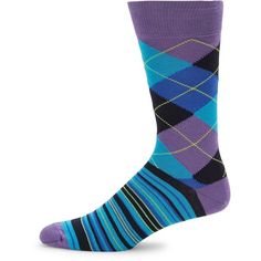Saks Fifth Avenue Combed Cotton Blend Mid-Calf Socks ($4.99) ❤ liked on Polyvore featuring men's fashion, men's clothing, men's socks, purple, mens socks and mens purple socks