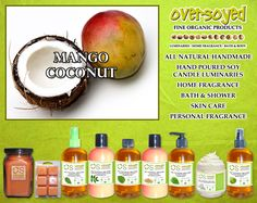 Mango Coconut Product Collection - This magnificent island aroma bursts with scents of fresh mango and coconut shavings. Sweet undertones of sugared musk blend to complete this tropical paradise. #OverSoyed #MangoCoconut #ExoticFruits #Exotic #Fruity #Fruit #Candles #HomeFragrance #BathandBody #Beauty