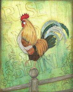 Rise & Shine Rooster, 11x14, Kitchen Wall Art, Rooster Decor