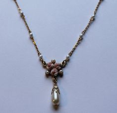 1928 Jewelry Co Faux Pearl and Rose Pendant Necklace by onetime, $4.25