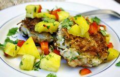 Coconut shrimp cakes with mango pineapple salsa