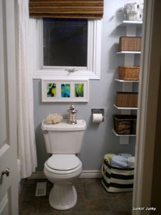 bathroom shelves-tight space in master between tub and sink