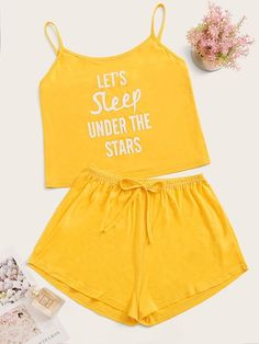 Shein Letter Print Cami PJ Set , - Shein Letter Print Cami PJ Set , Source by ngatatjoellegloria - Cute Pajama Sets, Cute Pjs, Cute Pajamas, Pajamas Women, Girls Fashion Clothes, Summer Fashion Outfits, Cute Fashion, Teen Fashion, Cute Lazy Outfits