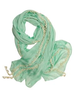 Mint to Be Scarf - Green, White, Solid, Fringed, Casual