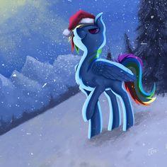 Snowy Night Rainbow Dash - Day 21 by Miss-Cats.deviantart.com on @DeviantArt