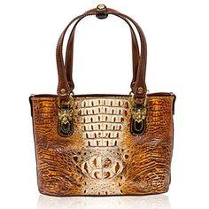 Marino Orlandi Italian Designer Cognac Brown Alligator Leather Purse Tote Bag