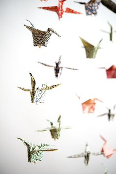 Paper Crane Mobile Origami Paper by WildChildShop on Etsy, 35.00 - 3 rows of 5