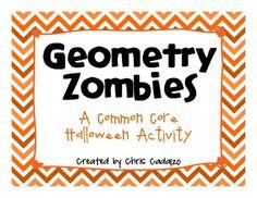 FREE!! Geometry zombie Halloween activity- Common Core aligned for grades 3-5.