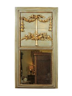 19th century Louis XVI Style Green Painted and Parcel Gilt Trumeau Mirror with Dove & Laurel Swags, France
