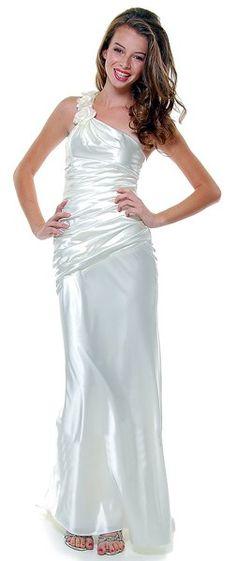One Shoulder Formal Dress Ivory Long Satin Gown Ruched Rose Strap
