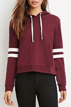 Color Block Stripe Drawstring Knit Hooded Sweatshirt