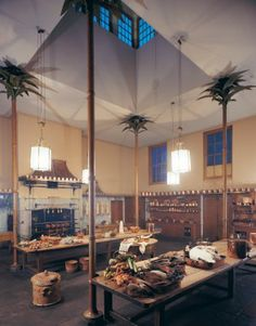 The kitchen at Brighton Pavilion, the former home of England's Prince Regent (later George IV) in Brighton, England. Palm-tree-form columns support the ceiling.