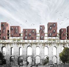 Image 5 of 8 from gallery of Competition-Winning Design Proposes Wood Housing Addition to Fourth-Century Aqueduct in Istanbul. Courtesy of Superspace Turkish Architecture, Water Architecture, Industrial Architecture, Architecture Graphics, Architecture Visualization, Architecture Student, Architecture Drawings, Concept Architecture, Architecture Design