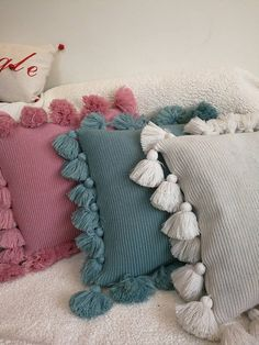 Items similar to Decorative tassel pillow knitted cushion cover/PINK GREEN BEIG. : Items similar to Decorative tassel pillow knitted cushion cover/PINK GREEN BEIGE pillow case/throw pillow cushion shell on Etsy Beige Pillow Cases, Beige Pillows, Boho Pillows, Diy Pillows, Handmade Cushions, Decorative Cushions, Colorful Throw Pillows, Sewing Pillows, Decorative Pillow Cases