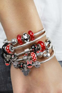 When you just love red, black and silver #PANDORAlovesDisney and this Mickey and Minnie inspired bracelet styling