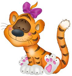 Tiger with Bow Cartoon Free Clipart
