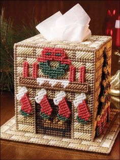 Plastic Canvas Christmas Home Tissue Topper
