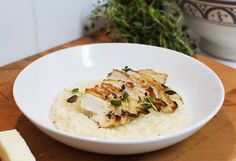Risotto and chicken Food N, Food And Drink, Couscous, Food Inspiration, Potato Salad, Mashed Potatoes, Tasty, Dining, Chicken
