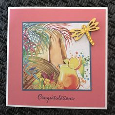Tropical themed congratulations card with wooden dragonfly....