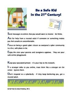 Printable poster about how kids can be safe online in the 21st Century.