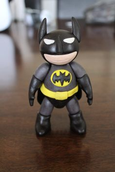 Batman cake topper. Superhero cake topper. Made with homemade marshmallow fondant