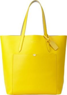 $399, Yellow Leather Tote Bag: Smythson Panama Tote Yellow. Sold by Barneys New York. Click for more info: https://lookastic.com/women/shop_items/254726/redirect