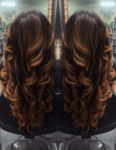 long brown hair with caramel balayage highlights