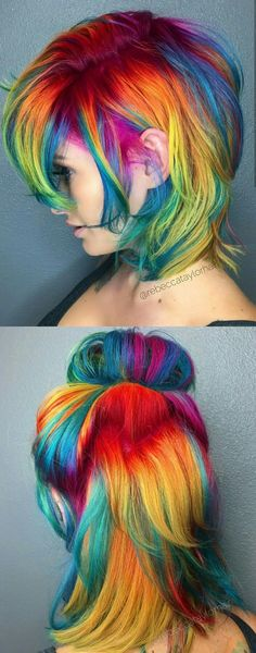 best rainbow hair color ideas for 2018 hair rainbow d Beautiful rainbow dyed hair. Short Rainbow Hair, Rainbow Dyed Hair, Short Dyed Hair, Dyed Hair Pastel, Short Thin Hair, Pastel Pixie, Rainbow Pastel, Rainbow Dash, Short Colorful Hair