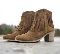 Go wild in some fringe cowboy boots. Tan Boots, Ankle Boots, Fringe Cowboy Boots, Shoe Shop, Kid Shoes, Trainers, Footwear, Booty, Man Shop