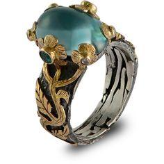 Emma Chapman Jewels - Blue Topaz Diamond & Emerald Bon Bon Ring ($2,085) ❤ liked on Polyvore featuring jewelry, rings, accessories, blue diamond ring, emerald cocktail ring, flower ring, blue topaz jewelry and leaf ring