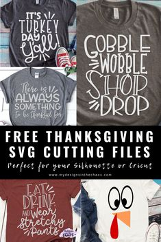 Along with the holiday of Thanksgiving, comes things like food, family, and shopping. To ease some of the stress of trying to find a cute comfy shirt to wear while enjoying some of those things, we have provided some adorable Free Thanksgiving SVG files. Look T Shirt, S Shirt, Shirt Cuff, Shilouette Cameo, Cricut Tutorials, Cricut Ideas, Diy Cutting Board, Thing 1, Vinyl Shirts