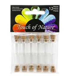Make wonderful craft and home decor projects with the Midwest Design Mini Glass Vials 1. This pack includes twelve 1-inch mini glass vials with corks. Store your tiny craft accents like small beads, g