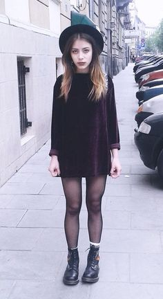 Purple Velvet Dress with Dr Martens Boots - http://ninjacosmico.com/11-ways-wear-black-dresses-summer/