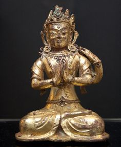 Bodhisattva Sadaksari Lokitesvara Tibet; Densatil Monastery 14th/15th century Gilt bronze