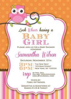 Baby Shower Invitation - Baby Owl for Girl- DIY Printable - Pink & Orange. $12.50, via Etsy.