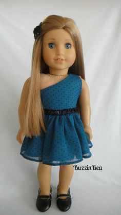 One Shoulder Dress with Black Beaded Trim & Hair Clip - American Girl Doll Clothes